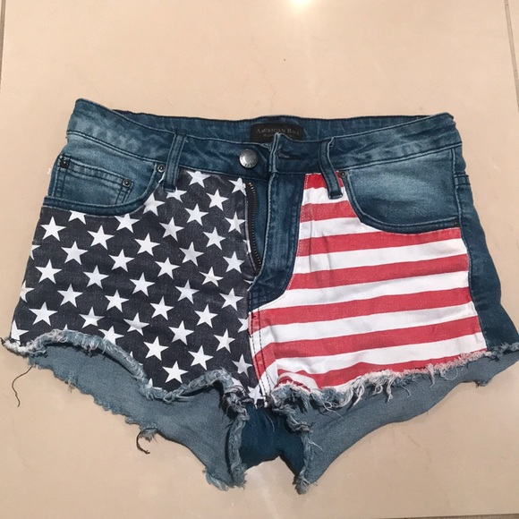 Fashion Nova Pants - American Flag Denim Shorts